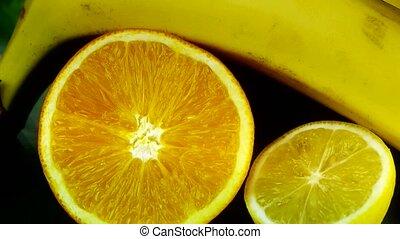 ruch obrotowy, od, zachwycający, owoc, płyta.