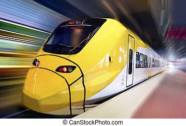 ruch, pociąg, mocny