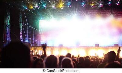 ruch, powolny, strzał, tłum, festival., taniec, przeglądnięcie, muzyka, cień, rusztowanie