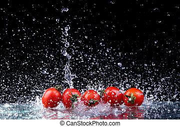 ruch spłynął, wiśnia, marznąć, woda, bryzg, studio, tło, czarnoskóry, pomidory