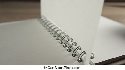 ruch, strona, powolny, 60fps, trzepiąc, notatnik