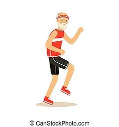 ruch, szczęśliwy, wektor, człowiek, styl życia, biegacz, zdrowy, barwny, senior, czynny, sztag, ilustracja, litery, zdrowy