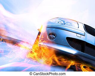 ruch, wóz, ruchomy, mocny, plama