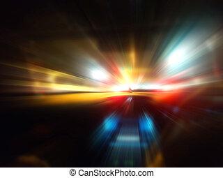 ruch, wóz, szybkość, droga, noc
