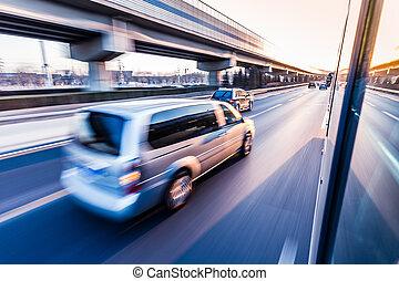 ruch, wóz, zachód słońca, autostrada, plama, napędowy