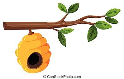 ruche, feuilles, branche arbre, pendre