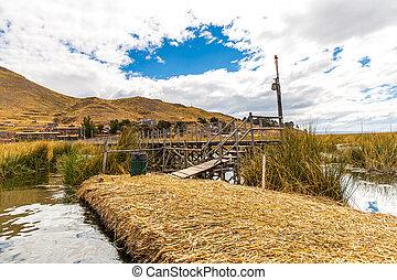 ruchome wyspy, na, jezioro titicaca, puno, peru, ameryka południowa, poszywany, home., gęsty, korzeń, że, rośliny, khili, interweave, kształt, kasownik, instalator, o, jeden, do, dwa, liczniki, gruby, że, poparcie, wyspy