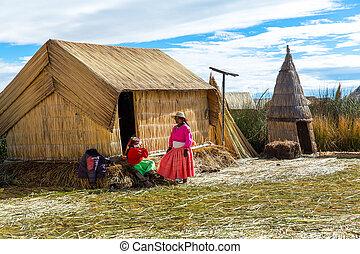 ruchome wyspy, na, jezioro titicaca, puno, peru, ameryka...