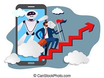 ruchomy, asystent, handlowy, urządzenie, prompts, robot, ...