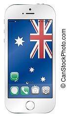 ruchomy, australijska bandera, ekran