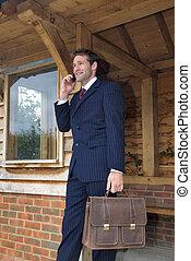 ruchomy, biznesmen, jego, telefon