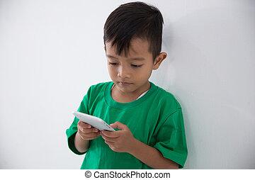 ruchomy, chłopiec, mały, telefon
