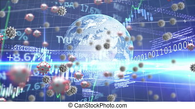 ruchomy, covid-19, komórki, makro, kula, wzór, ożywienie, ...