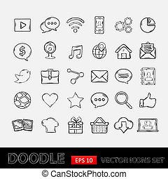 ruchomy, doodle, komplet, apps, ikony