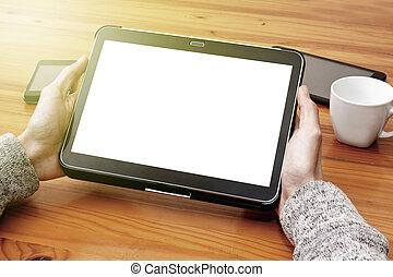 ruchomy, ekran, tabliczka, czysty