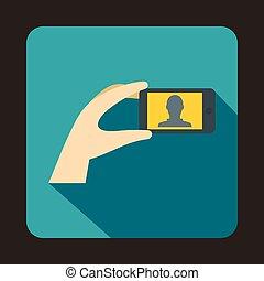 ruchomy, fotografia, ręka, telefon, dzierżawa, ikona