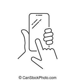 ruchomy, guzik, telefon, dzierżawa, kreska, 10., mądry, używając, ręka, ekran, kupować, eps, vector., icon., smartphone, screen., holing, smartphone., biały