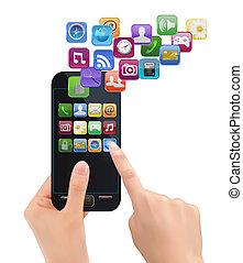 ruchomy, icons., ręka, telefon, wektor, dzierżawa