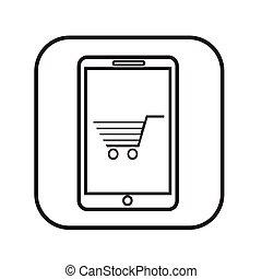 ruchomy, kreska, zakupy, cienki, ikona