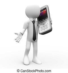 ruchomy, mówiąc, człowiek, telefon