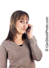 ruchomy, młody, odizolowany, telefon, samica, biały