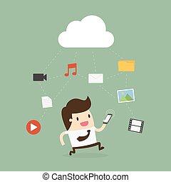ruchomy, media, telefon, używając, biznesmen, icon., chmura