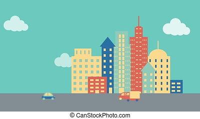 ruchomy, miasto, pojazd, ulica