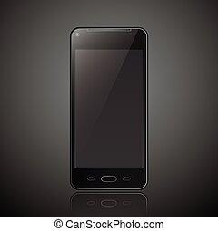 ruchomy, nowy, smartphone, realistyczny