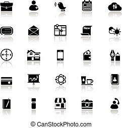 ruchomy, odzwierciedlać, białe tło, ikony