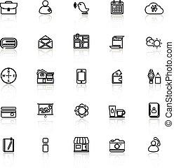 ruchomy, odzwierciedlać, kreska, biały, ikony