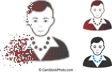 ruchomy, pixel, halftone, modny, facet, ikona