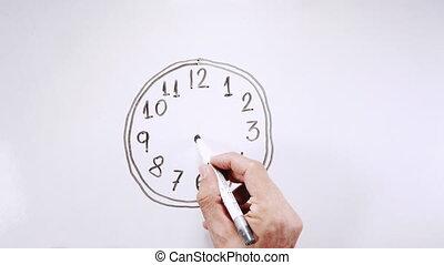 ruchomy, rysunek, zegar