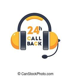 ruchomy, sieć, słuchawki, ikona, callback