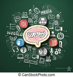 ruchomy, tablica, collage, internetowe ikony