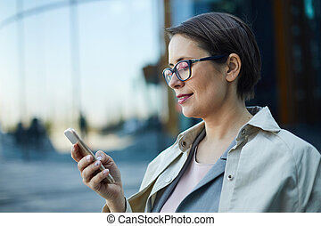 ruchomy, używając, app, dama