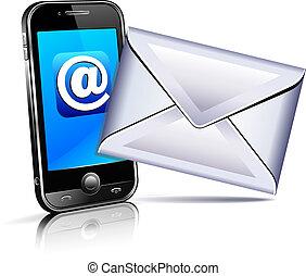 ruchomy, wysyłać, telefon, litera, ikona, 3d