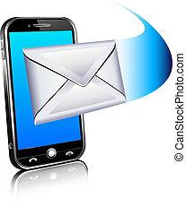 ruchomy, -, wysyłać, telefon, litera, ikona