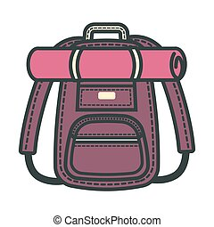 Rucksack backpack designed for traveling people isolated vector