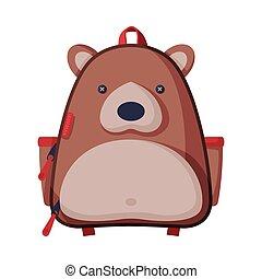 rucksack, blanc, école, illustration, devant, style, ours, formé, vecteur, vue, puéril, fond, sac à dos, plat, enfants