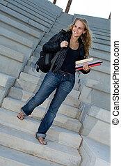rucksack, buecher, student, campus, glücklich