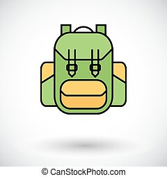 Rucksack. Flat icon on the white background for mobile and...