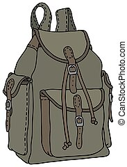 Rucksack - Hand drawing of a classic green rucksack