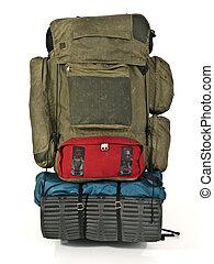 rucksack, wildnis, krieger