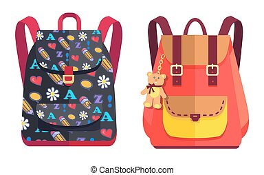 Rucksacks for Girl with Teddy Bear, Color Objects