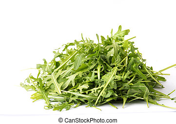 Rucola plant green leaves isolated