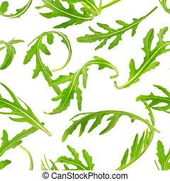Rucola seamless pattern. Arugula leaves isolated on white background