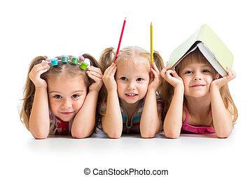 rudacska, gyerekek, könyv, fest