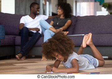 rudacska, színezett, bágyasztó, szülők, gyermek, leány, mixed-race, rajz