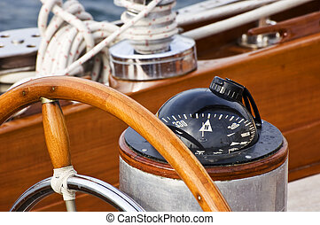 Rudder and compass on a wooden boat