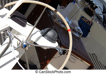 Rudder. Boat steering wheel